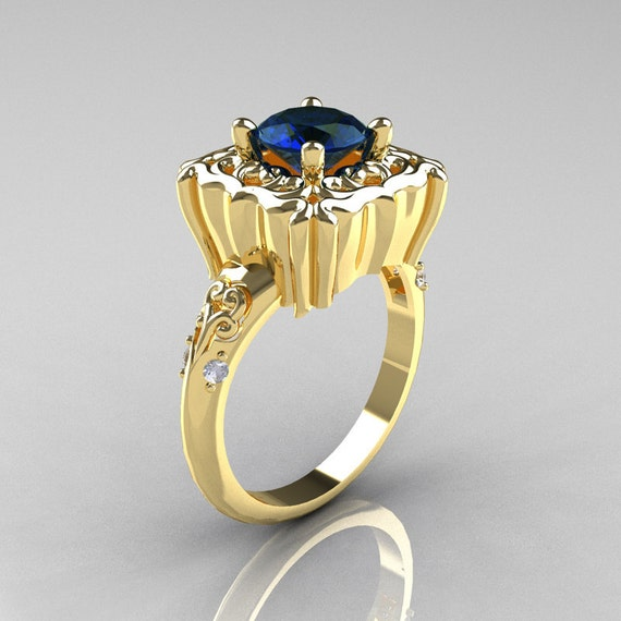 Modern Antique 18K Yellow Gold 1.0 Carat London Blue Sapphire Diamond Engagement Ring AR116-18KRGDLBS