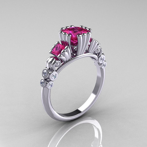 Items similar to Classic 10K White Gold 1 25 CT Princess Pink Sapphire Diamon
