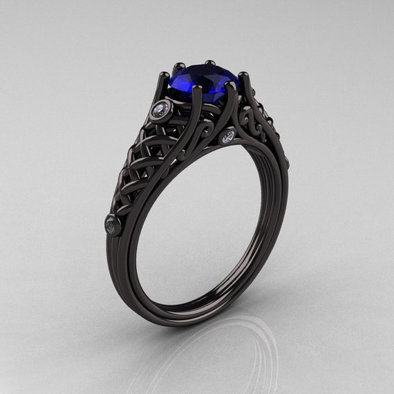 Designer Exclusive Classic 18K Black Gold 1.0 Carat Blue Sapphire Diamond Lace Ring R175-18KBGDBS