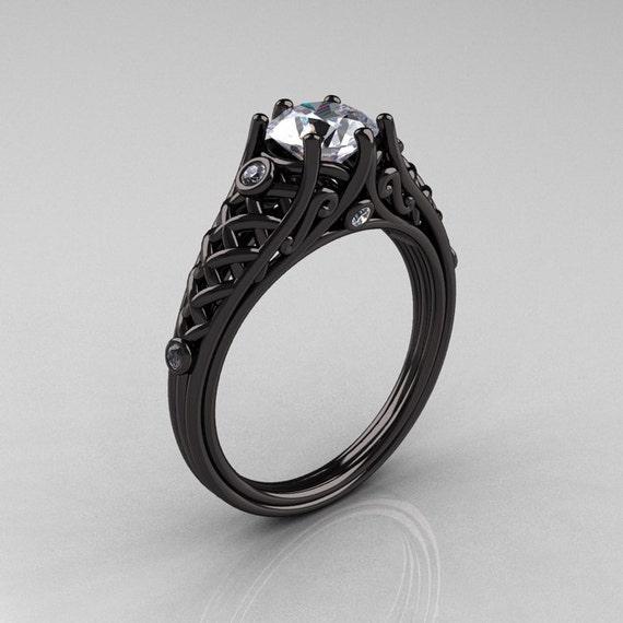 Designer Exclusive Classic 14K Black Gold 1.0 Carat White Sapphire Diamond Lace Ring R175-14KBGDWS