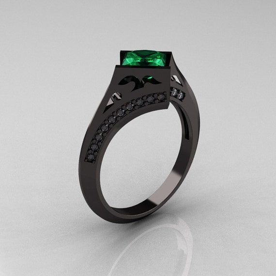 Exclusive French 14K Black Gold 1.23 CT Princess Emerald Diamond Engagement Ring R176-14BGDEM