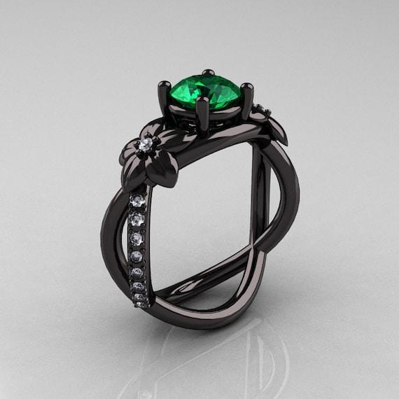 Items similar to Designer Classic 18K Black Gold 1 0 CT Emerald Diamond Leaf