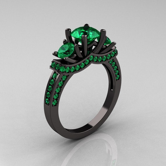 French 14K Black Gold Three Stone Emerald Wedding Ring, Engagement Ring R182-14KBGEM