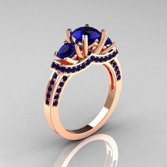 French 14K Rose Gold Three Stone Blue Sapphire Wedding Ring, Engagement Ring R182-14KRGBSS