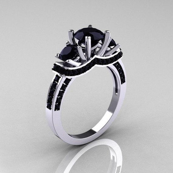 Items similar to French 10K White Gold Three Stone Black Diamond Wedding Ring