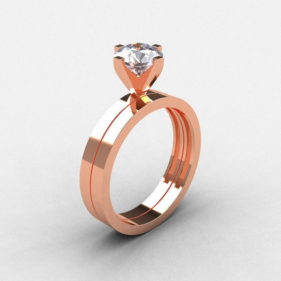 Items similar to Modern 14K Rose Gold 1 0 CT White Sapphire Solitaire Engagem