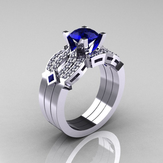 Classic 14K White Gold Blue Sapphire Diamond Solitaire Ring Double Flush Band Bridal Set R188S2-14KWGDBS