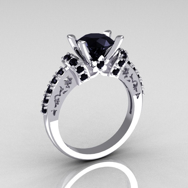 Modern Armenian Classic 10K White Gold 1 5 Carat Black Diamond