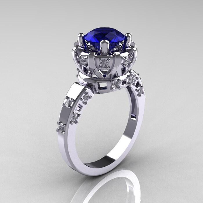 Modern Antique 14K White Gold 1 5 Carat Blue Sapphire Diamond