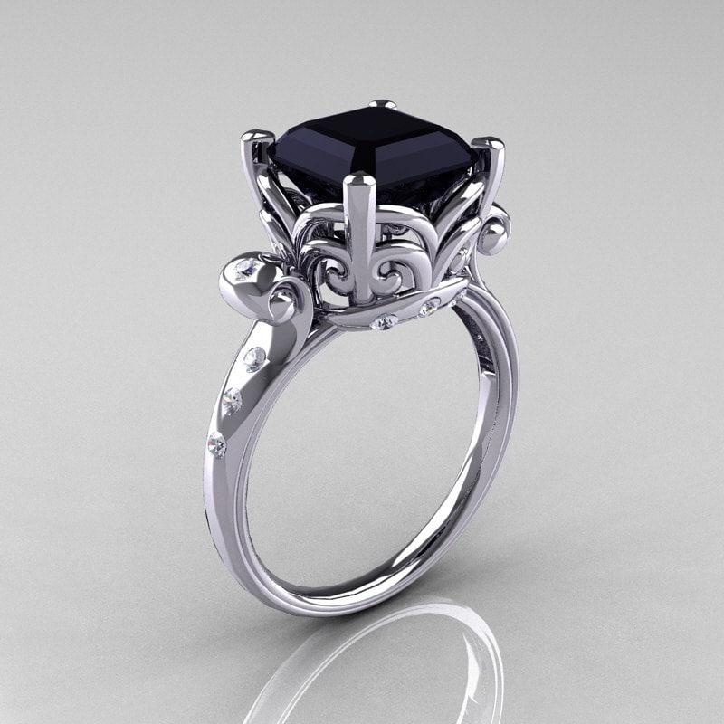 10 000 Up Diamond: Modern Antique 10K White Gold 2.6 Carat Emerald Cut Black