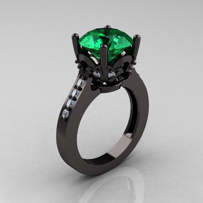 Exclusive Classic 14K Black Gold 30 Carat Emerald Diamond
