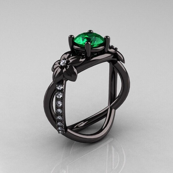 Designer Classic 18k Black Gold 1 0 Ct Emerald Diamond Leaf