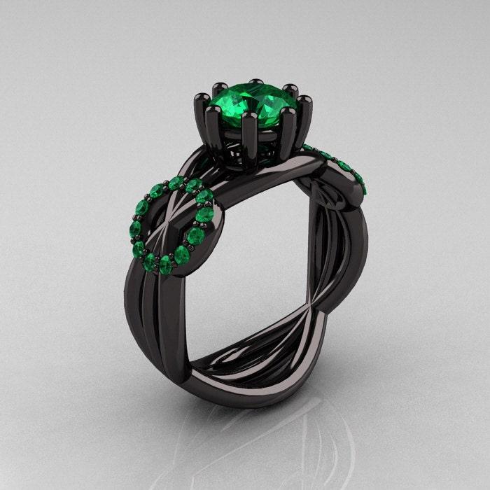Modern Bridal 14K Black Gold 1 0 CT Emerald Designer by artmasters
