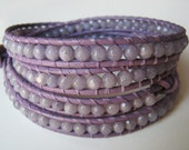 SALE - Lavender Leather Wrap Bracelet