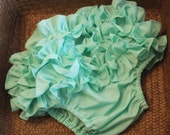 Mint Ruffled Bloomer Diaper Cover INCLUDING A Quality Made Silk Hair Clip