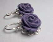 Purple Rose Cabochon Earrings - Sterling Silver - BEAUTIFUL - Bridal, Bridesmaids, Wedding Jewelry -
