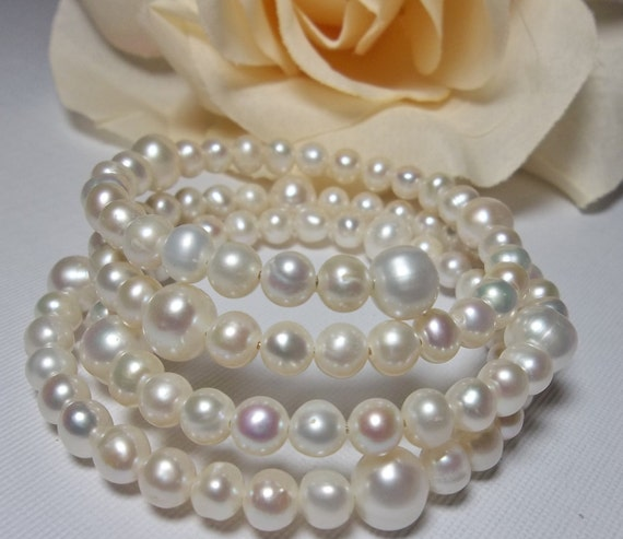 Pearl bracelet - Freshwater -  wrap around Bracelet - AA with High Luster - bridal jewelry - Bridesmaids -