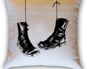 Hanging Combat Boots 14 x 14 Throw Pillow (CASE ONLY)