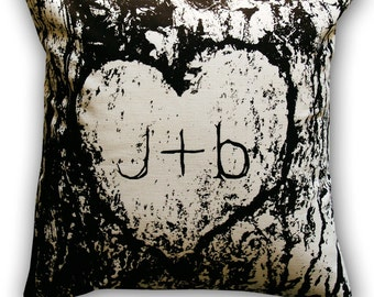 Personalized Carved Initials in Tree Bark 14 x 14 Throw Pillow (CASE ONLY)