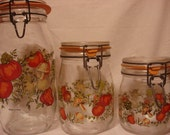 "Vintage French Glass ""Vegetable Garden"" Canisters - Set of 3"