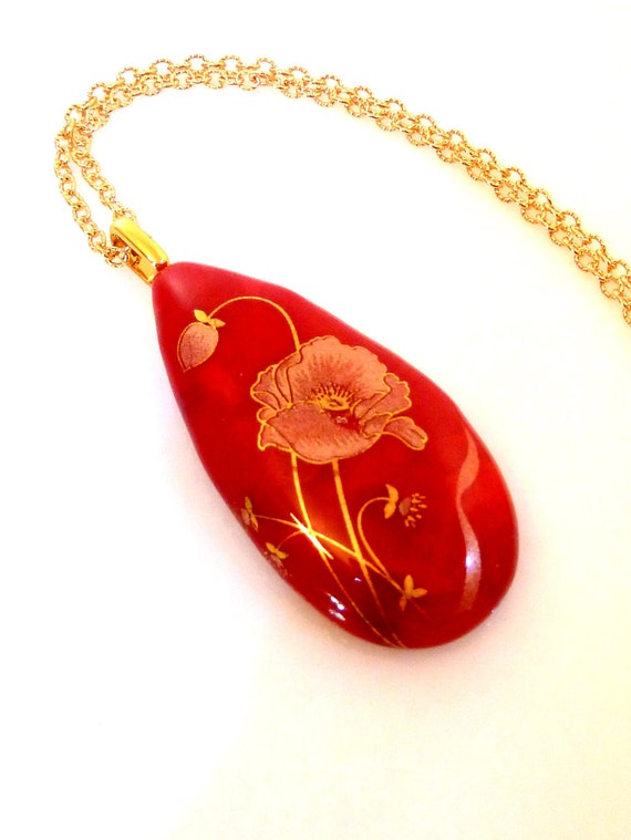 Red and Gold Fused Glass Pendant