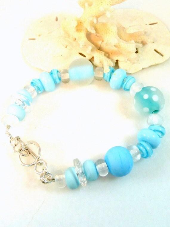 Glass Bead Bracelet Pale Blue