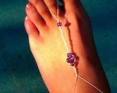 Vintage Handmade Organic Hemp Seaside Barefoot Sandals: made with all natural white hemp and purple beading.  Beach trips and weddings.