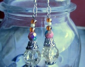 Mystic Princess Dangle Earrings - Clear Crackle Crystal Ball, Pink Iridescent Czech Beads, Pearls, Silver - Fantasy, Renaissance, Magic