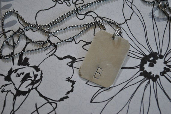 Small Dog Tag with Initial - Sterling Silver Hand Stamped Necklace