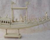 Pre Ban Indian Ivory Carved Ship Unbelievable Detail ((Reserved for Jennifer (Rachel) Turner))