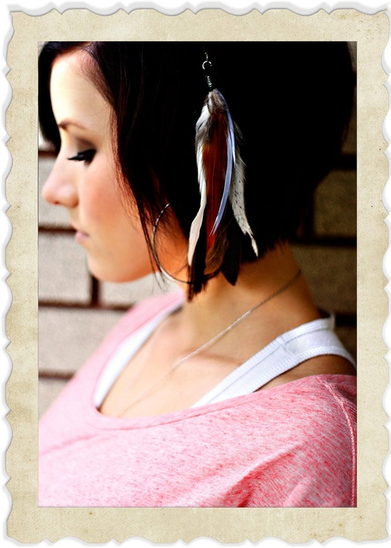 SALE hair clips feather extensions
