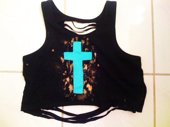 Turquoise Cross Thrashed Crop Top Tank // One of a Kind