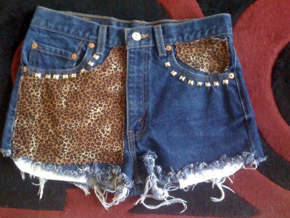 High waisted levis half leopard and studded waist size 28.5' hipster shorts