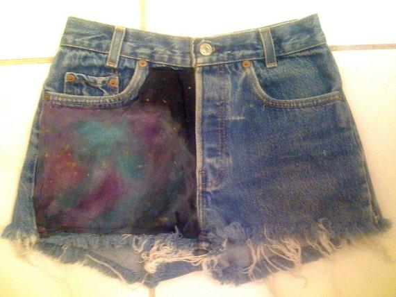 Vintage High waisted Levi NEBULA GALAXY shorts