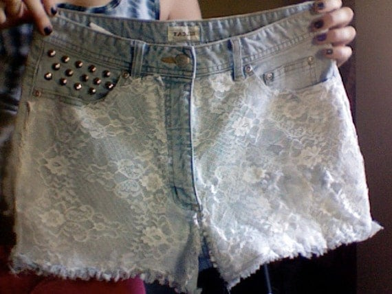 Hipster White Lace Studded High waisted SILCAT Shorts