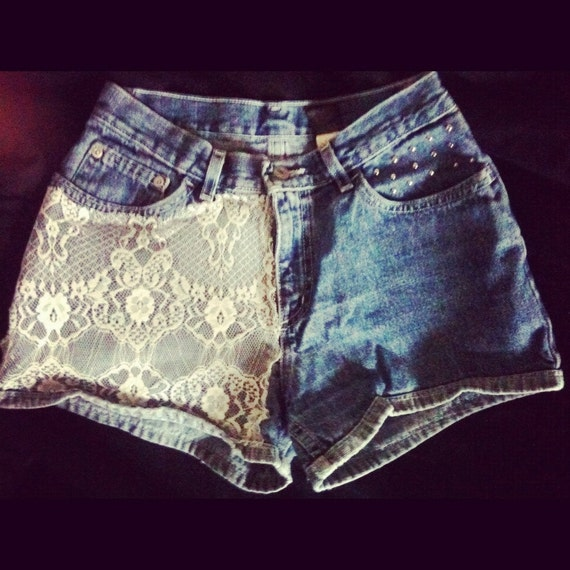One day reserve for jt // Vintage White Lacey High Waisted Studded Jean Shorts