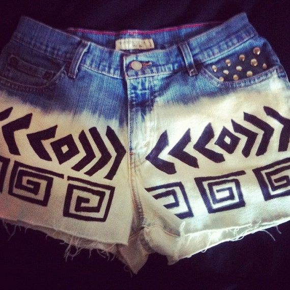 Ombre Studded High Waisted Tribal Levi Shorts