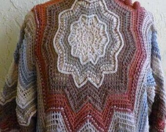 Awesome Vintage Hand Crocheted by Nili  Dolman Sleeve Sweater  Med / Lge  Earth Colors