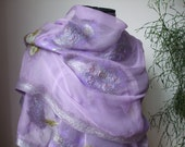 Spring Fashion Nuno Felted Wool Silk scarf shawl wrap  under 150 holiday mothers day gift for her for mom - Lavender