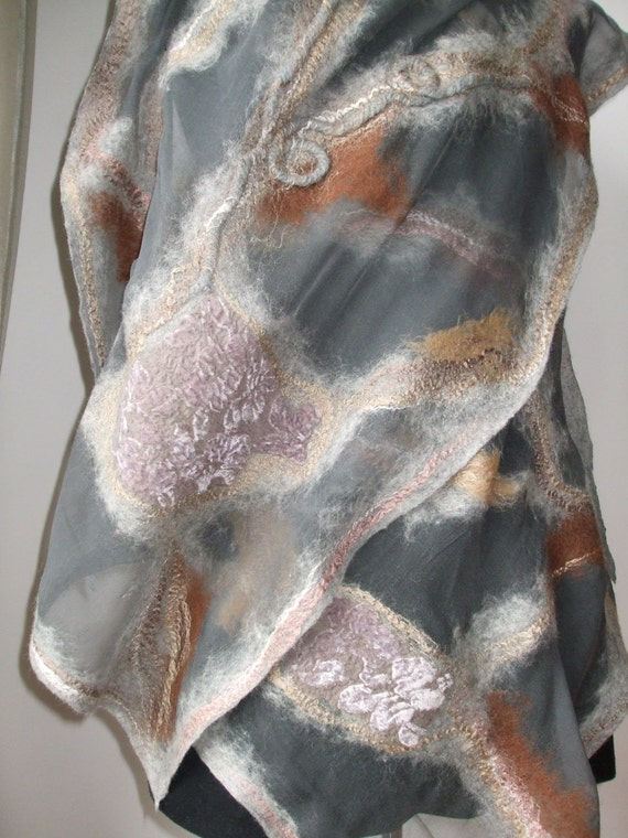 Spring Fashion Nuno Felted Wool Silk scarf shawl wrap  under 150 holiday mothers day gift for her for mom  - (grey shawl )