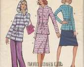 """VINTAGE 1971 Womens Hooded Jacket, Pants and Skirt Pattern, Size 10, Bust 32 1/2"""", Style 3289"""