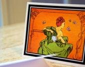 Orange Modern Nouveau, Mini Greeting Cards With Envelopes, Tags, Art Nouveau, Green, Redhead,