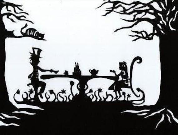 Papercut Silhouette, Alice In Wonderland, Paper Art, Hand Cut Out Original Art, Mad Hatter Tea Party