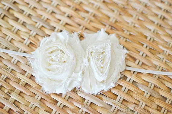 Shabby Chic Rosette Headband - Cream/Ivory/Pearl