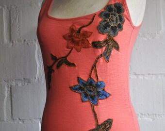 Batik Flower Top (Size XS) , (France - 34-36), (Great Britain- 6-8), (EU-32-34)