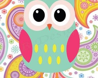 Aqua and Pink Girl's Owl Nursery Print, Girl's Woodland Nursery Decor, Girl Nursery Decor - 8x10