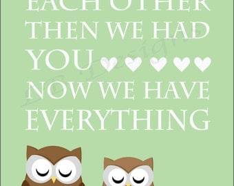 Twin Nursery Decor, Owl Nursery Print, Woodland Nursery Art, Gender Neutral Nursery Decor - 8x10