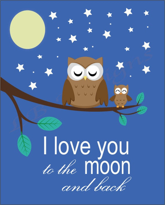I Miss You To The Moon And Back Quotes: Woodland Nursery Art I Love You To Moon And Back Print Owl