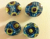 Set of Four Blue Dotty Glass Magnets