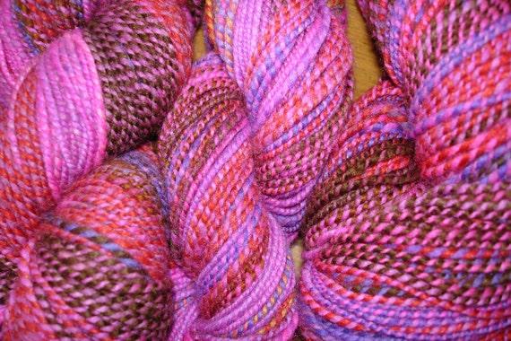 Hand Spun, Hand Dyed Superwash Merino Wool Yarn, Sock Weight